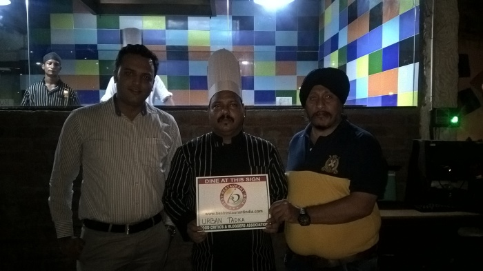 Restaurant Receiving certificate from our Chief Editor